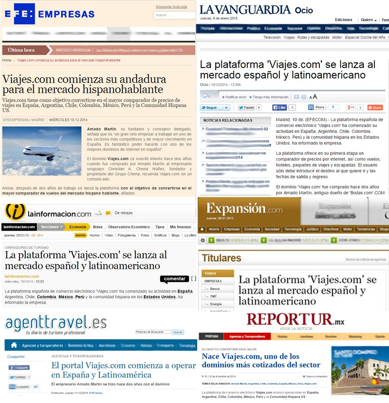 viajes.com , titulares en los medios de comunicacion